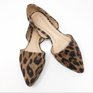 A NEW DAY Leopard Microsuede Pointed Ballet Flats